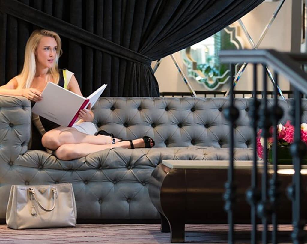 Woman in the sofa
